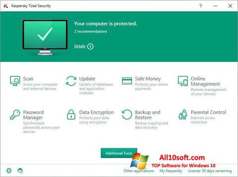 Στιγμιότυπο οθόνης Kaspersky Total Security Windows 10