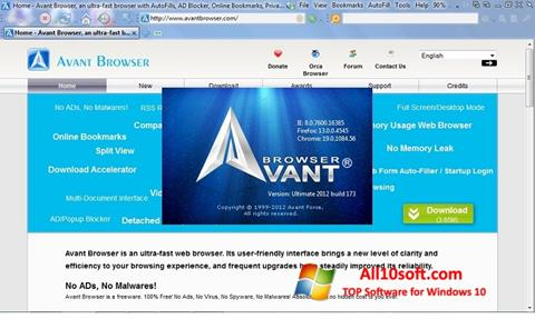 Στιγμιότυπο οθόνης Avant Browser Windows 10