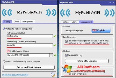 Στιγμιότυπο οθόνης MyPublicWiFi Windows 10