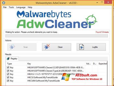 Στιγμιότυπο οθόνης AdwCleaner Windows 10