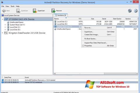 Στιγμιότυπο οθόνης Active Partition Recovery Windows 10