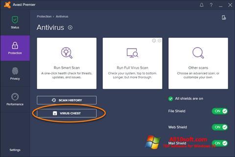 Στιγμιότυπο οθόνης Avast Windows 10