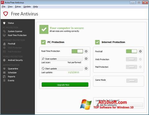 Στιγμιότυπο οθόνης Avira Free Antivirus Windows 10