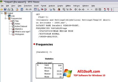 Στιγμιότυπο οθόνης SPSS Windows 10