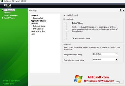Στιγμιότυπο οθόνης Outpost Firewall Free Windows 10