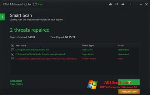 Στιγμιότυπο οθόνης IObit Malware Fighter Windows 10
