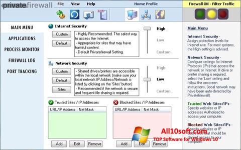 Στιγμιότυπο οθόνης Privatefirewall Windows 10