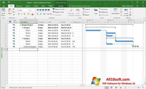 Στιγμιότυπο οθόνης Microsoft Project Windows 10