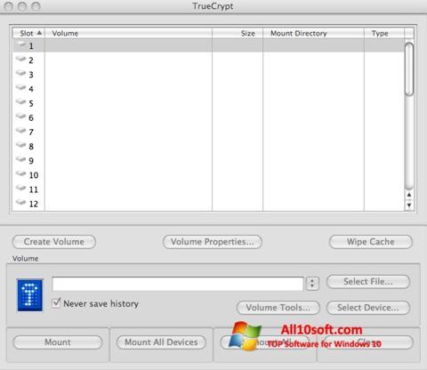 Στιγμιότυπο οθόνης TrueCrypt Windows 10