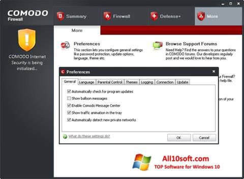 Στιγμιότυπο οθόνης Comodo Firewall Windows 10
