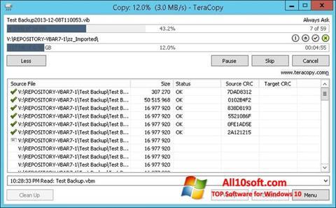 Στιγμιότυπο οθόνης TeraCopy Windows 10