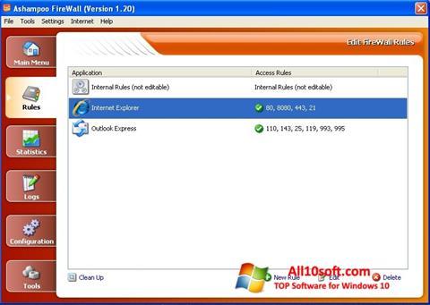Στιγμιότυπο οθόνης Ashampoo Firewall Windows 10