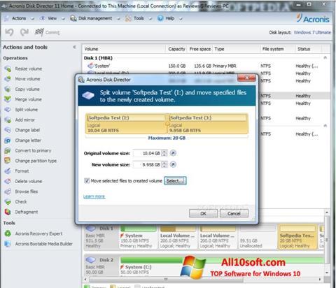 Στιγμιότυπο οθόνης Acronis Disk Director Suite Windows 10