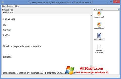 Στιγμιότυπο οθόνης Winmail Opener Windows 10