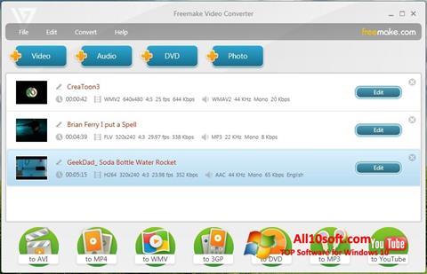 Στιγμιότυπο οθόνης Freemake Video Converter Windows 10